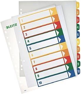 Leitz Intercalaires 1-10, Imprimable sur PC, A4, Plastique Ultra-Résistant, Extra-Large, Blanc/Multicolore, 12930000
