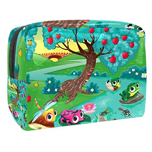 Cute Frog Dragonfly Duck Fish Apples Tree River Waterproof Cosmetic Bag Cosmetic Organizer for Women Girls Kids Waterproof Travel Makeup Bags