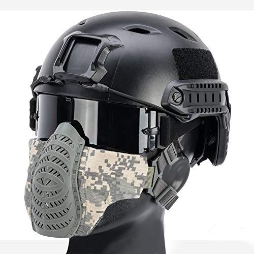 YCYR PJ Fast Tactical Helm, Mit Faltbarer Doppelgurt Halbgesichtsmaske Und Schutzbrille Für Den Militärischen CS Paintball Shooting Hunting Cycling Outdoor Sport,ACU