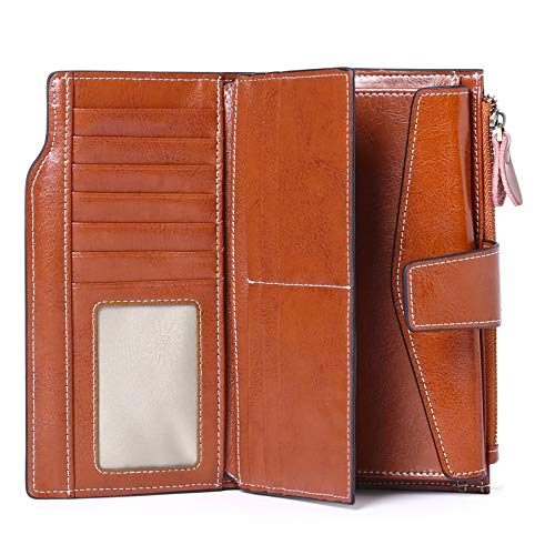 SENDEFN Women Leather Wallets RFID Blocking Clutch Card Holder Ladies Purse with Zipper Pocket 4