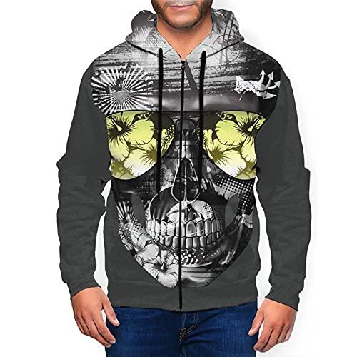 Sudadera con capucha para hombre con cremallera completa con capucha y diseño clásico con capucha, Hawaii Skull - Gafas de sol de verano, color negro, M