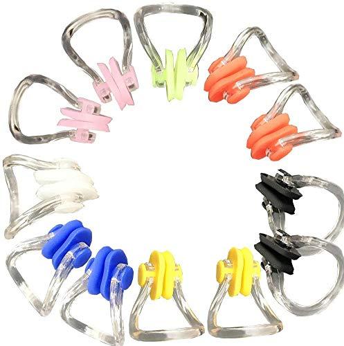 REYOK 12 Stücke Silikagel Nasenklemme Tauchen Nasenclip Silikon Nasenschutz Bunt Nasenklemme,Erwachsene und Kinder - Perfektes Set zum Training, Wettkämpfe & Anfänger Nasenklammer aus Silikon