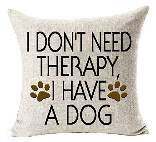 Delia32Agnes Modern Best Dog Lover Gifts Funny Sayings I Don't Need Therapy I Have A Dog Bone Paw Prints Linen Throw Pillow Covers Decorative with Zip 18 X 18 for Couch