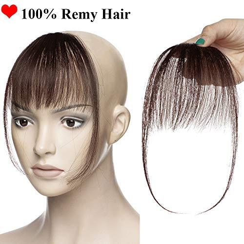 SEGO Frangia Capelli Veri Frangetta Clip Extension 100% Remy Human Hair Bang Invisibile Sottile #2 Castano Scuro