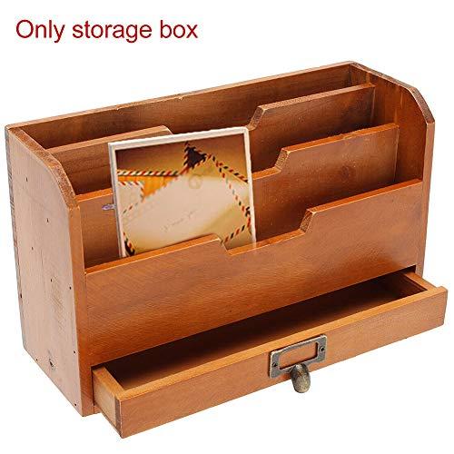 Akten Aufbewahrungsbox, Office Aufbewahrungsbox, stapelbare Aufbewahrungsbox, Grid-Datei aus Holz Papier Vintage Storage Holder Wall Mounted Dokument Brief Rack