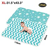 2PCS Extra Large Portable Baby Changing Pads,Waterproof,Ideal for Changing Table,Crib,80*110cm