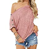 Maglietta da donna con spalle scoperte, tinta unita, sexy, casual, basic, a maniche corte, collo orizzontale, senza spalline, top blouse, camicia casual con maniche e bottoni Colore: rosa. L