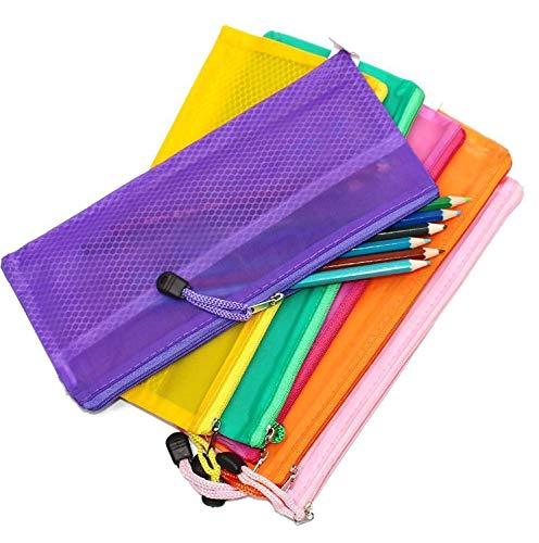 SAISAN 5 Pcs Mesh Zippered Pencil Pen Stationary Holder Case Travel Document Holder Bag Cosmetics Pouch - Colors May Vary ( 23.5cm X 11cm )