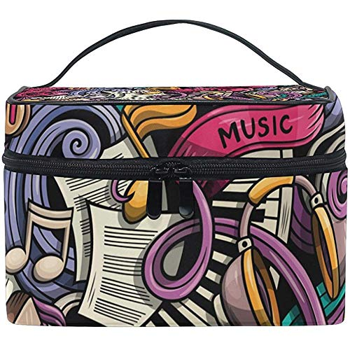 Trousse de Maquillage de Trousse de Toilette de Sac cosmétique Multifonctionnel avec la Tirette de qualité Portable Cartoon Cute Doodles Makeup Bag