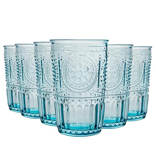 Bormioli Rocco Romantique Highball Glasses Set - Cut Vintage Italian Verre Cocktail Gobelets - 340ml - Bleu - Paquet de 12