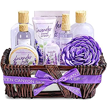 Green Canyon Spa Lavender Spa Gift Baskets for Women Birthday Mother s Day Gift Ideas 10 Pcs Spa Gift Sets with Handmade Weaved Basket