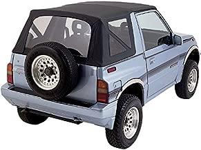 Sierra Offroad Suzuki Sidekick/Chevy Tracker Soft Top 1986-94 in Black Leather Grain Vinyl, Clear Windows