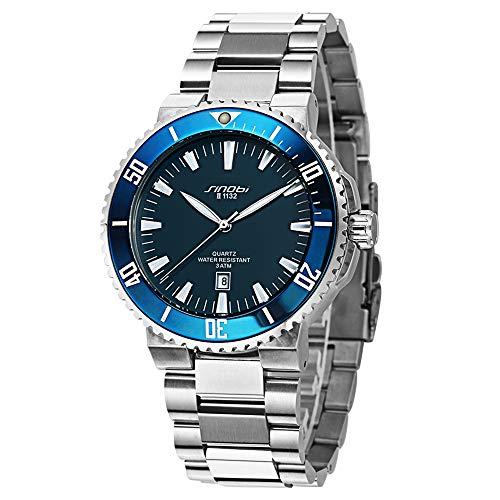 SINOBI Casual Men Stainless Steel Wrist Watch Waterproof Luminous Calendar Auto Date Sport Men Watch Blue …