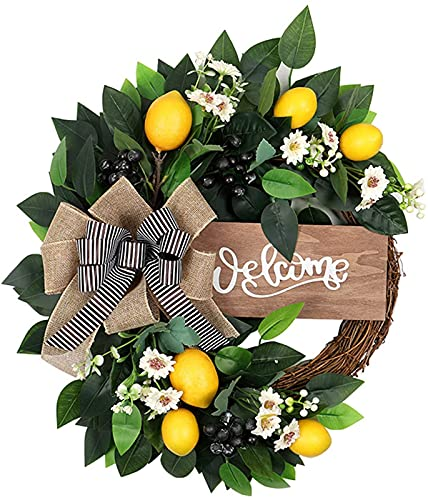 N\C Artificial Greenery Lemon Wreath, Lemons Wreath Artificial Green Leaf Fruit Greenery Ribbon Garland, Lemons Blueberry Fake Leaves Wreath for Front Door Wall Wedding Decor