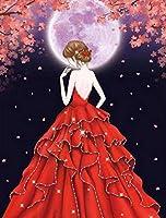 5DDIYダイヤモンド絵画ドレスガールモザイクラインストーンデッサン画像コレクション家の装飾工芸品 12x16インチ