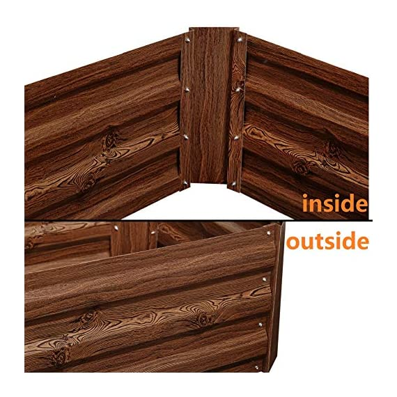 Leisurelife Metal Raised Garden Bed Planter Box Kits for Vegetables Outdoor, Steel, 2x2 ft, Brown 3 【Raised Garden Bed Size】:8x4 ft, height 1ft. No bottom 【Material】: The planter box made of color steel, waterproof and anti-rust, can be used for 10 years. 【Open-bottom】: Integrating with nature, there is no trouble with standing water.