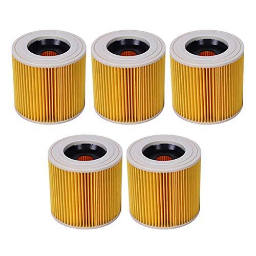 Accesorios de limpieza 5 piezas de filtro de aire de repuesto para aspiradora Karcher WD2250 WD3.200 MV2 MV3 WD3 A2004 A2204 HEPA Kit de cepillo (color: amarillo) (color: amarillo)