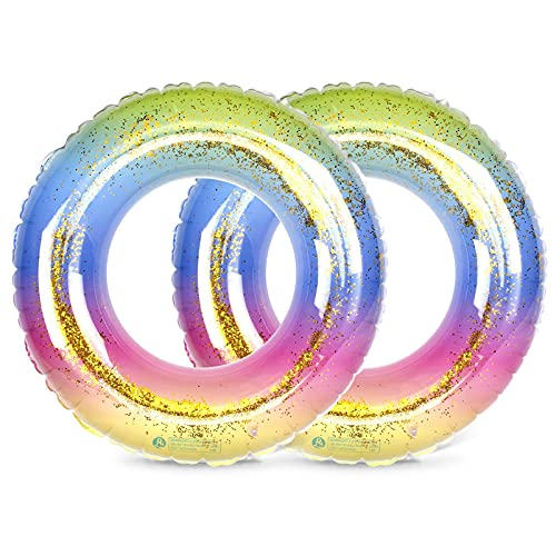 Migimi Schwimmring, Schwimmreifen Aufblasbar Glitzer Floating-Ring Luftmatratze Reifen für Jugendliche Erwachsene, Swimming Pool Spielzeug für Party, Beach, Strand