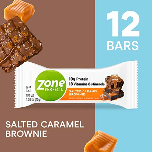 ZonePerfect Protein Bars, Salted Caramel Brownie, 10g of Protein, Nutrition Bars With Vitamins & Minerals, Great Taste Guaranteed, 12 Bars