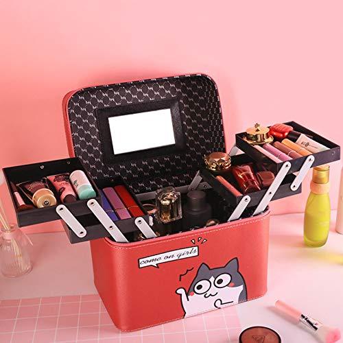 LITAO Caja de Almacenamiento portátil Cuatro Bolsas de Maquillaje Abierto Anime niña de Dibujos Animados corazón Gran Capacidad Caja portátil Cuadrada multifunción, Vino Rojo Gris Gato