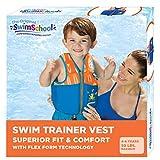SwimSchool New & Improved Swim Trainer Vest, Flex-Form Design, Padded Shoulders and Adjustable Safety Strap, Easy On & Off, Medium/Large, Up to 50 Lbs., Blue/Orange (AZV18863ML-Parent)