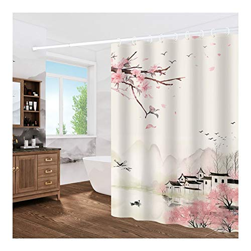 LCHY 2019, de nieuwste douchegordijnen extra breed met 12 haken waterdicht tegen bacteriën en bacteriën douchegordijnen mat wasbaar in de wasmachine 3D Curtain