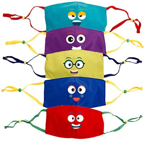 Staresen 5PCS Studenten Tägliche Stimmung Husten Filter Kinder Atmungsaktive Drucke Mundschützer Austauschbare Wiederverwendbare Gesichtsschutzbandana-Set mit verstellbaren elastischen Ohrschlaufen