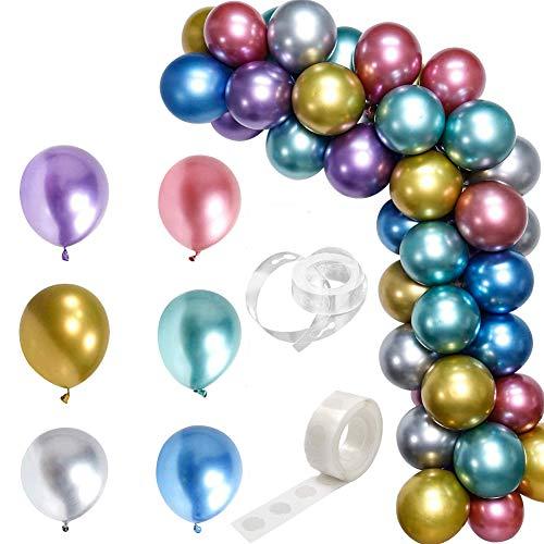 Globos de Látex Brillante de 12 pulgadas,Globos Metálicos Brillantes Para Cumpleaños, Bodas, Baby Shower Y Decoraciones Navideñas Paquete de 50