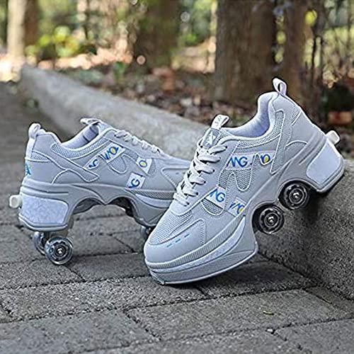 Zapatos multifuncionales para patines deformados, doble fila para mujeres, hombres, adultos, zapatillas para correr, con ruedas deformadas, deportes al aire libre, patinaje, viajes, la mejor opción