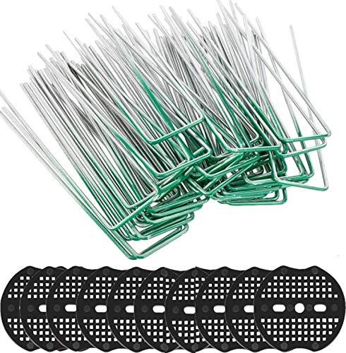 KAHEIGN 50 Pcs Juego De Clavijas De Jardín, 15cm Forma De U Resistente Al óxido Grapas De Acero Para Césped Clavijas De Sujeción Al Suelo Con Arandela Amortiguadora (Verde)