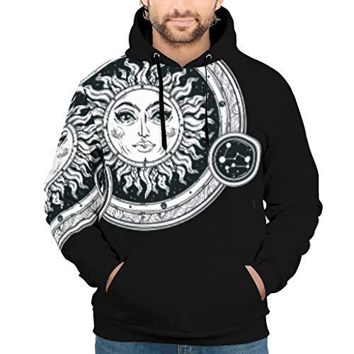 YxueSond Mens Unisex Hoodie Kapuzenpullover Moon Sun Eyes Slim Fit Sweatshirt Pullover Rundhals Für Mädchen White XXL