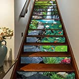 FLFK 3D Garden Landscape Stair Riser Stickers Self-Adhesive Staircase Stickers Murals Home Decoration 39.3Inch x7.08Inch x 13PCS