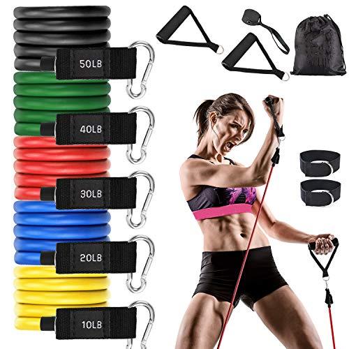 QKURT 11PCS Widerstandsbänder, Sports Fitnessband mit Expander Schaumstoffgriffe, Knöchelriemen, Türanker für Fitness zu Hause
