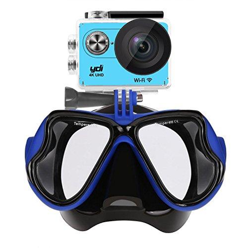 YDI Maschera Subacquea Compatibile con Gopro Hero 5/4/3/2/1, Xiaomi Yi, APEMAN, DAPING, Campark, Victure, SJCAM Action Sport Camera (Blu)