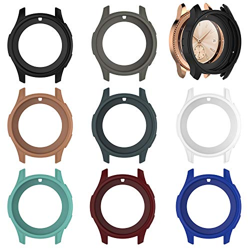 E ECSEM Protective Case Cover Compatible with Samsung Galaxy Watch 42mm Colorful Shock-Proof Cover Sleeve Watch Cover Slim Designer Sleeve Protector for Galaxy Watch SM-R810/SM-R815 Smartwatch (8Pack)