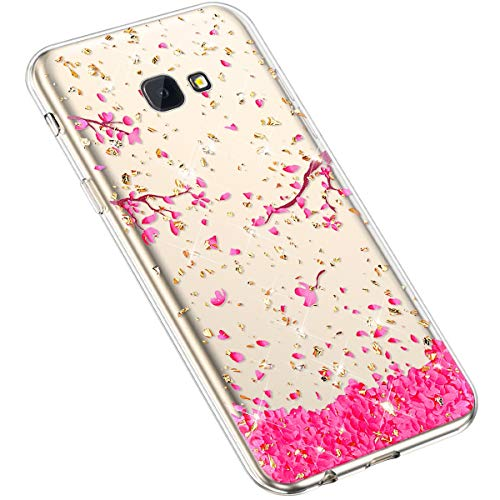 Uposao Kompatibel mit Samsung Galaxy J4 Plus 2018 Hülle Silikon TPU Handyhülle Crystal Clear Durchsichtige Hülle Schutzhülle Transparent Muster Ultradünn TPU Bumper Case Tasche,Kirschblüte Blumen