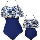 Mère-Fille 2 Pièces Définit Maillot de Bain Femmes Bébé Filles Maillot de Bain Assorti Famille Ensembles Mignon Volants Bikini Set (4-5 Ans, Bleu)