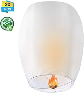 LIUMY Chinese Lanterns, 20 Pack Paper Lanterns - 100% Biodegradable, Eco-Friendly, Japaneses Lanterns for Weddings, Celebrations, Memorial Ceremonies, White Lanterns