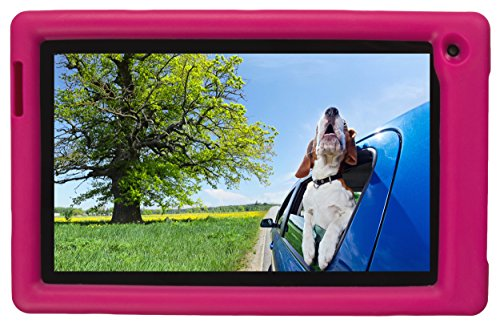 Bobj Rugged Case for RCA Voyager III and Voyager II 7-inch - BobjGear Custom Fit - Patented Venting - Sound Amplification - BobjBounces Kid Friendly (Rockin' Raspberry)