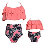 Baby Girls Bikini Swimsuit Set Family Matching Mother Girl Swimwear Baithing Suit (L, Orange)