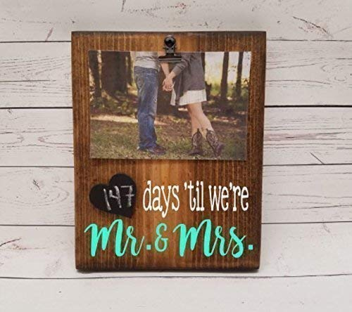 Wedding Countdown Chalkboard Tracker, reusable calendar for marriage, photo clip to hold picture of the happy couple