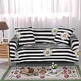 BSZHCT Elastischer Sofabezug Streifen Bedruckte Pattern Sofabezüge Schwarz Und Weiß 3 Sitzer Antirutsch Stretchhusse Sofahusse Couchhusse mit 2Kissenbezug,für L Form Sofa Couch Sessel (195-230cm)