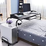 sogesfurniture Mobile Overbed Computer Table Laptop Stand Notebook Trolley Cart, 120cm Rolling Table Hospital Nursing Table for Eating on Bed with Adjustable Length and Height, Black BHEU-203#2-BK