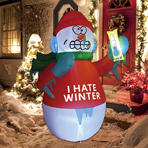 GOOSH 6 Foot Tall Inflatable Snowman Christmas Inflatable Snowman with The Thermometer in The Hand LED Lights Indoor-Outdoor Yard Lawn Decoration - Cute Fun Xmas Holiday Blow Up Party Display