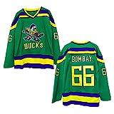 uk Bk - Jersey de hockey sobre hielo para hombre, ropa deportiva, con números bordados, ropa de hockey sobre hielo, manga larga, ropa deportiva, versión de película Bombay #66- L