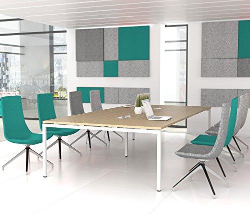 NOVA Konferenztisch 320x164cm Eiche mit ELEKTRIFIZIERUNG Besprechungstisch Tisch, Gestellfarbe:Weiß