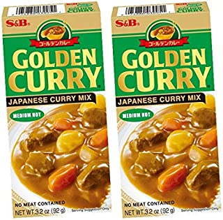 S&B Japanese Golden Curry Paste Medium Hot 92 gms (Pack of 2)