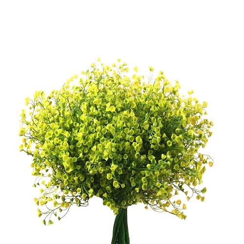 5pcs Flores Artificiales Decoracion Jarrones, Falsa Planta Artificial Exterior Interior con Rama de Arbusto Narciso Pequeña Flores Amarillo para Jardinera Mesa Terraza Balcon Cementerio Fiesta