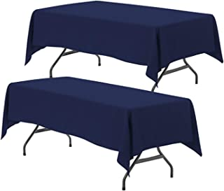 Your Chair Covers - Pack of 2 60 x 102 Inch Rectangular Polyester Tablecloth Navy Blue, Premium Seamless Wedding Table Cloth for Standard 6 Foot Tables
