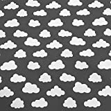 Stoff Meterware Baumwolle grau Wolken neu Vorhang Kissen
